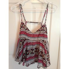 Tribal Print millau  Strappy Top Flattering strappy top with adjustable straps from LF. 100% polyester Millau Tops Camisoles