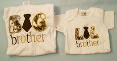 Lil Big  Brother  Bodysuit and Tee shirt Set , Embroidered set, Appliqued Tee, Big Brother Tee,Sibling Set  #719 - pinned by pin4etsy.com