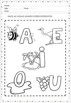 Atividades sobre As Vogais para Alfabetização Português - Bela & Estilos Fall Preschool Activities, Preschool Writing, Preschool Printables, Preschool Crafts, Learning Activities, Kids Learning, Toddler Activities, Abc Phonics, Alphabet Worksheets