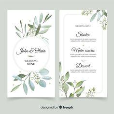 Wedding menu with foliage design Free Vector | Free Vector #Freepik #vector #freeflower #freeframe #freewedding #freewatercolor