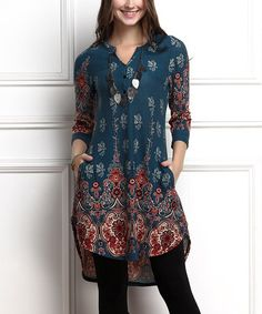 Another great find on #zulily! Emerald Medallion Button Front Split Hem Tunic - Plus Too #zulilyfinds