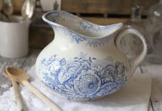 Antique French Blue Transferware Pitcher - Floral - Jardiniere - by Saint Amand - circa 1890's. $82.00, via Etsy.
