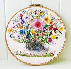 Hog of the Hedge Embroidery Hoop Art Pretty and Cute Etsy Embroidery, Embroidery Hoop Art, Floral Embroidery, Wooden Hoop, Metal Hangers, Linen Bag, Satin Stitch, Pretty And Cute, Woodland Animals