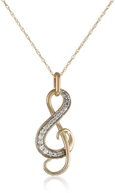 10k Yellow Gold Diamond Music Note Pendant Necklace, 18″