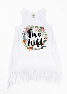fdf8723f49683 Items similar to Two Wild - Girls  Fringe Dresses - Two Year Old - TWO -  2nd Birthday - Birthday Dress - Floral Wreath - Boho Dress - Two   Wild -  Tank ...