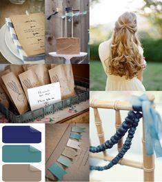 outdoor rustic blue and brown wedding color ideas #elegantweddinginvites #weddingcolors