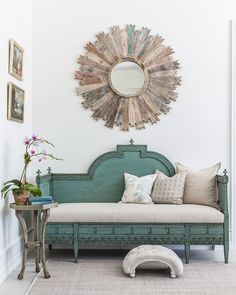 An antique settee sits perfectly beneath a driftwood mirror. The jute area rug is by Stanton. The 2016 Hampton Designer Showhouse Provence, Used Outdoor Furniture, Seaside Style, Country Style, Coastal Living Rooms, Living Spaces, Traditional House, Traditional Decor, Interiores Design