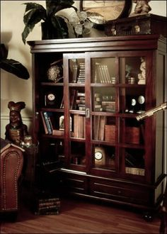 D ART Sliding Door Library Curio Bookcase In Mahogany Wood By Art Collection