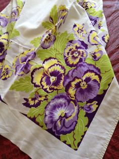 Vintage Tablecloth Purple Pansies Vintage by TheCookieClutch