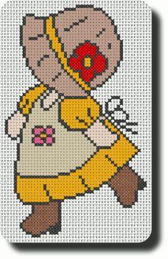 http://www.elkalin.com/article-chez-elkalin-com-sunbonnet-printemps-numero-8-103702131.html Stitch Doll, Crochet Cross, Crochet Baby, Mini Cross Stitch, Crochet Flower Patterns, Beading Patterns, Crochet Flowers, Cross Stitch Designs, Cross Stitch Patterns