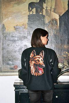 jacket + black denim.