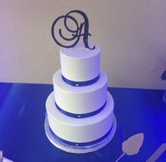 Royal blue & monogrammed, a beautiful cake for a recent #wedding we hosted. #newportbeach