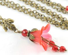 Lovely red flower necklace