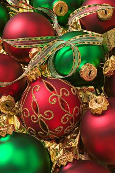 Red And Green Christmas Ornaments Photograph