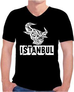 Istanbul Boğa Kendin Tasarla - Erkek V Yaka Tişört