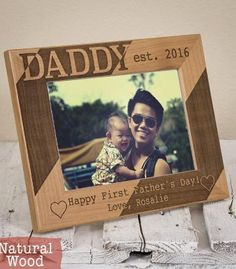 Personalized First Fathers Day Gift from Baby Daughter or Wife. Custom Wooden Photo Frame.
