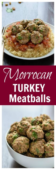 Moroccan Turkey Meatballs. A super juicy and flavor-packed meatball recipe that's healthy too!