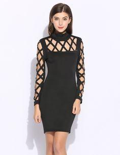 New Fashion Women Casual Turtleneck Long Sleeve Solid Hollow Mini Dress