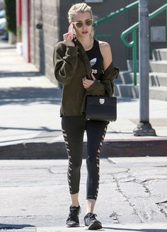 Emma Roberts, 25,was spotted chatting on her phone in West Hollywood, dressed in Adidas activewear