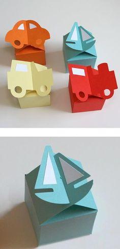 scatoline in cartoncino con sagome - da cercare il template