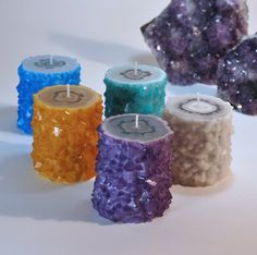 Moonstone Flower Stalactite Crystal Geode Agate Candle Crystal Healing / Gift Ideas For Spiritual Junkies Candles For Sale, Diy Candles, Pillar Candles, Homemade Candles, Diy Rose, Crystals For Sale, Boho Girl, Candle Making, Porta Velas