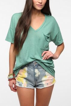 Truly Madly Deeply V-Neck Pocket Tee  #UrbanOutfitters