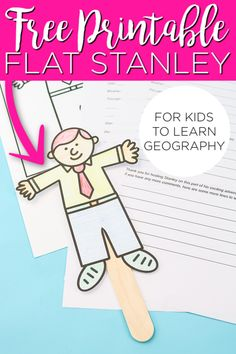 This free printable Flat Stanley is perfect for helping to teach your kids geography! Includes a printable questionnaire to send Stanley to family and friends in the mail! #flatstanley #kids #kidscrafts #learningcrafts #printable #freeprintable #geography Toilet Paper Roll Crafts, Paper Plate Crafts, Paper Crafts For Kids, Easy Crafts For Kids, Diy For Kids, Paper Crafting, Cool Diy Projects, Projects For Kids, Stanley Adventure
