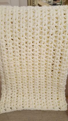 Super chunky V stitch crochet blanket.
