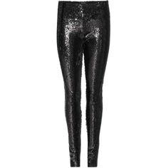 Isabel Marant Izard Sequinned Leggings (527,705 KRW) via Polyvore featuring pants, leggings, black trousers, isabel marant, legging pants, sequin leggings and black pants