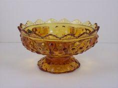 fenton glass candle holder | Fenton Handmade Glass Golden Amber Hobnail Candle Holder Footed Bowl 6 ...