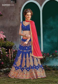 BLUE NET LEHENGA CHOLI WITH EMBROIDERY WORK   #Navratri #ChaniyaCholi #NavratriDandiya