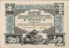 A1627 Muzeum cennych papiru Slovenská keramika účastinárska spoločnosť v Modre 1920 Banknote, 15th Century, Printing Process, Ephemera, Vintage Photos, Money, Prints, Pine Tree, Prague