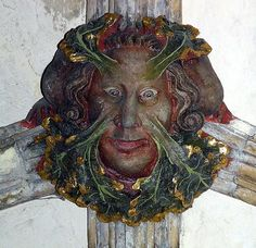 """""""The Green Man is known by many names all over the world.  His story is the oldest agricultural cycle: He is born in the Spring, loves in the Summer, is cut down at the Harvest, spends Winter in the Underworld, and is reborn in the Spring. The story is told in the tale of John Barleycorn, a well known English folksong, and the Green Man foliate face is also the Mask of Dionysus, used in Greek Drama."""" --   Morning Glory Zell Ravencraft"""
