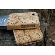 carved branch and bird design bamboo wood 2 piece sliding wooden iphone 4/4s case