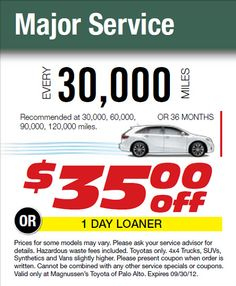 30k Miles Toyota Maintenance Service 35 Dollars Off This September 2017 At Center In Bay Area By Toyotaofpaloalto Via Flickr