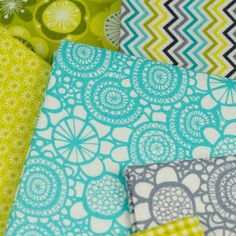 Makower Lime Twist 1418/T Sunflower Turquoise retro fabric great for patchwork and quilting