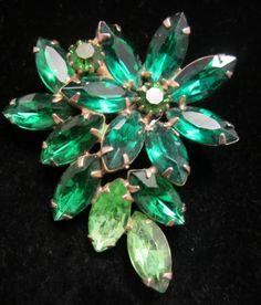 "Gorgeous Vintage 2"" Juliana D&E Gold Tone Green Rhinestone Statement Brooch A61"