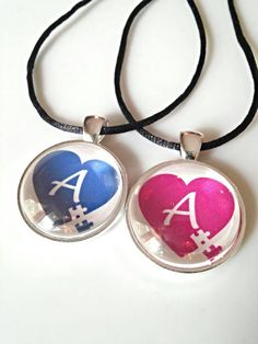 Autism necklace, personalized necklace, puzzle piece jewelry, autism awareness, autism mom necklace, blue or pink Puzzle initial necklace.