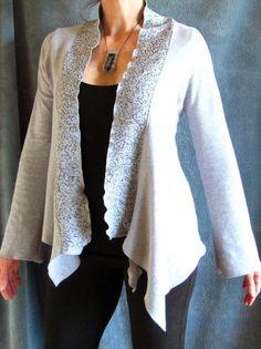 Asymmetrical Jacket shawl-collar cardigan layering top - indie fashion made-to-measure. $82.00, via Etsy.