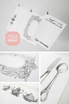 Sunshine and Bones: Free Vintage Paper Placemats Printable