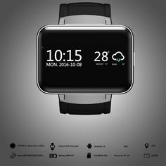 """Online Shop TTLIFE """"grote scherm android smart watch meertalige bluetooth smart wrist run gps wifi camera fitness tracker Watch For Iphone, Iphone 7, Toyota, Ios, Bluetooth Watch, Gps Map, Wearable Device, Android 4, Fitness Tracker"""