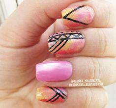 aztec nails #nails #nailsart #aztecnails #aztec #tribalnails #ombrenails #summernails #springnails