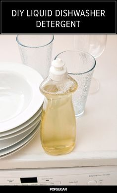 DIY Liquid Dishwasher Detergent. Ingredients: 1 cup castile soap, 1/4 cup washing soda, 1 cup hot water, 10-20 drops essential oil (optional)