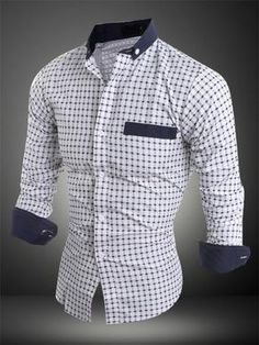 Men's Casual White Shirt 2018 Spread Collar Dot Print Block Color Long Sleeve Shirt Source by monghanabe Winter Fashion Outfits, Suit Fashion, Camisa Tribal, Moda Formal, Formal Shirts For Men, African Men Fashion, Men Dress, Long Sleeve Shirts, Men Sweater
