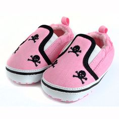 www.lescoolpetites.com  3 Skull Pink Slip On Shoes from Punk Baby Clothes