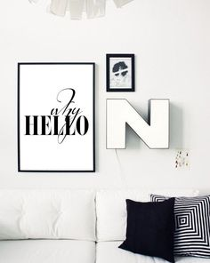 WHY HELLO Poster Print Black and White by PrintablePixel on Etsy