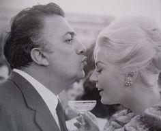 Federico Fellini and Anita Ekberg, 1960 viafuckyeahfedericofellini