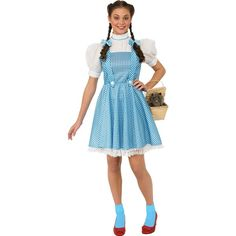 Wizard Of Oz Dorothy Adult Costume (£27) ❤ liked on Polyvore featuring costumes, halloween costumes, wig costumes, blue halloween costume, dog costumes, dog halloween costumes and dorothy from wizard of oz costume