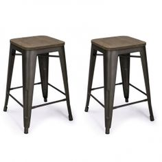 Adeco Bronze 24-inch Metal Counter Bar Stools - CH0152 | adecotrading.com