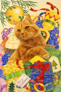 Art Licensing Painting - Gingers Christmas by Anne Mortimer